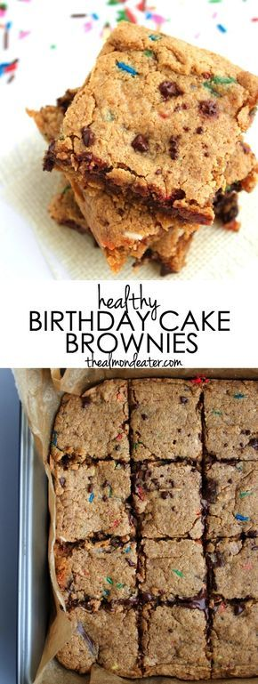 Why eat regular brownies on your birthday when you could eat BIRTHDAY CAKE brownies?! These are made with cashew butter and are so, so delicious! #paleo
