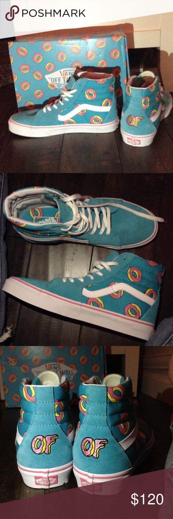 OFWGKTA VANS DONUT O SK8-HI SHOES *BRAND NEW* Just out of package never been worn size too big they are sold out on Odd Future website and they're very exclusive! They are soo cute but too big on me Vans Shoes Sneakers