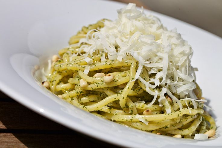 """PASTA FIDLI"" basil pesto, fried pine nuts, Parmesan cheese"