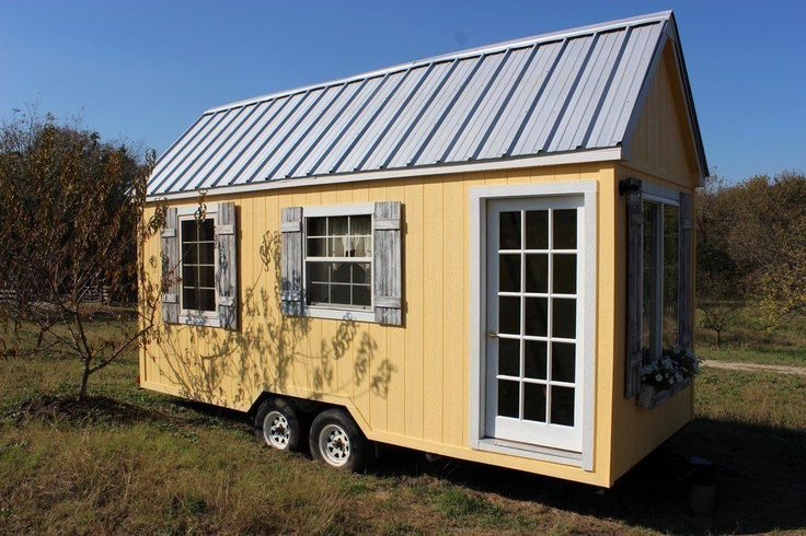 The tiny house comes with all the furniture and curtains you see in the pictures.  Although it is currently decorated in a traditionally feminine style, the decor can easily be changed to make a great portable guest house, man cave or in-law suite. UNIQUE TINY HOUSE FLOOR PLAN:  2 BEDROOMS! At 8′ x 20′, this…
