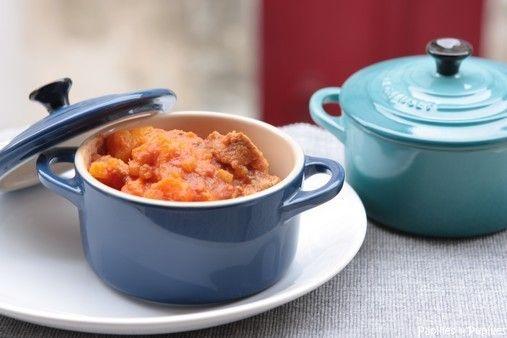 Filet mignon de porc mijoté aux patates douces et aux carottes