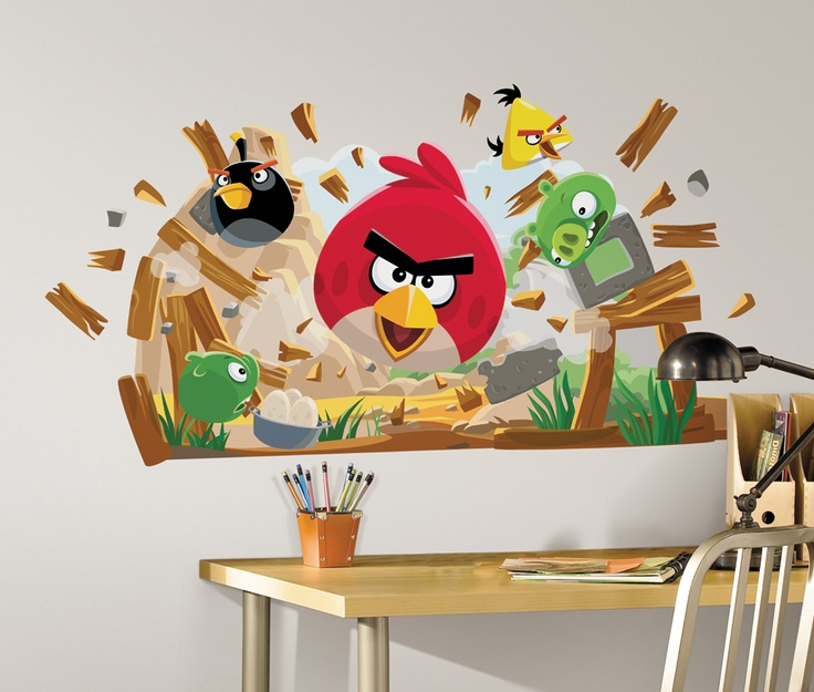Room mates angry birds peel and stick giant wall decals