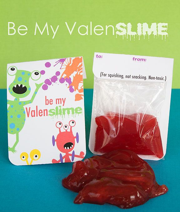 """Great idea for boys. Homemade slime in bags, with printable bag toppers. """"Be My Valen-Slime."""" Gotta remember this for next year."""