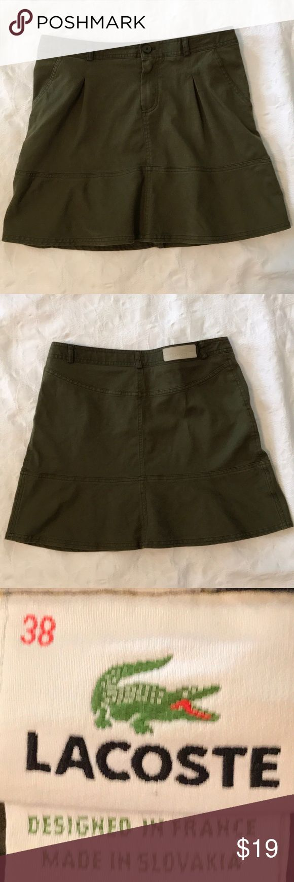 """Retro Lacoste Denim Skirt, Army Green, Size 38 Cute skirt with a slightly flared hemline. Faux pockets in front. Approx 15"""" from waist to hem, and 32"""" waist. Lacoste Skirts Mini"""