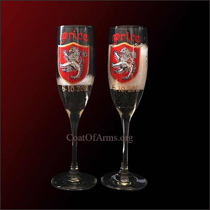 Hand Painted Coat of Arms Champaign Flute