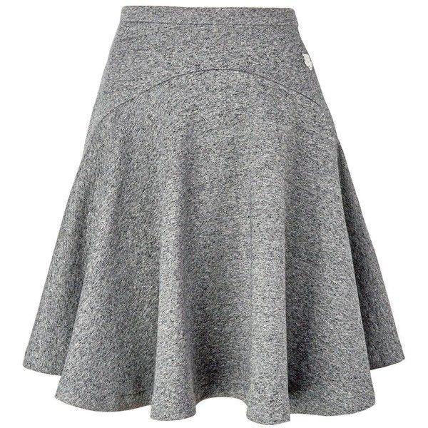 Kenzo Tiger Motif Skirt ($89) ❤ liked on Polyvore featuring skirts, mini skirts, dark grey, dark grey skirt, mini skirt, flare skirts, flared skirt and kenzo