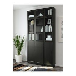 "BILLY / OXBERG Bookcase, black-brown, glass - 47 1/4x93 1/4x11 3/4 "" - IKEA"