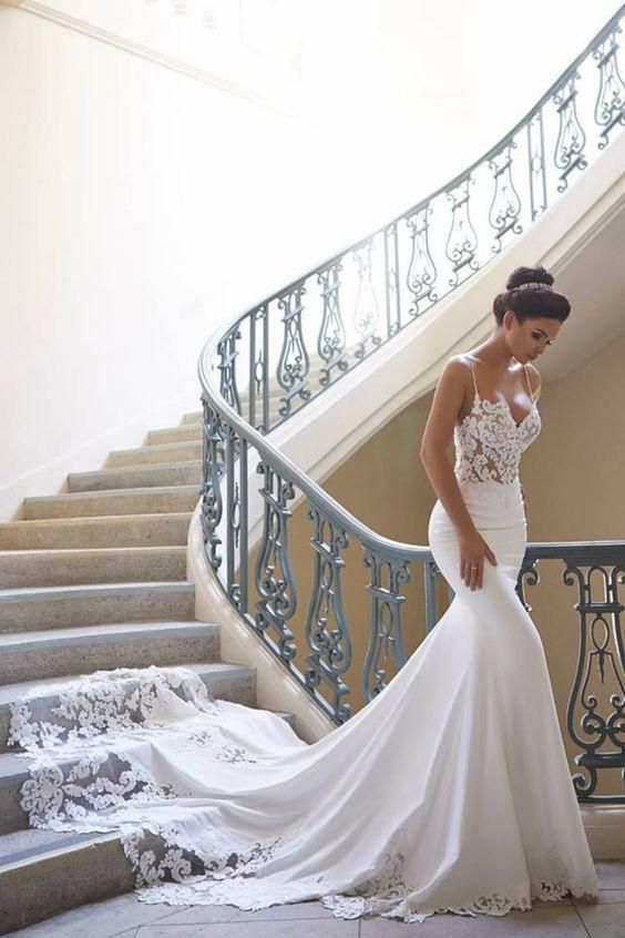 Mermaid Ivory Spaghetti Straps V Neck Wedding Dresses Lace Satin Bridal Dresses …