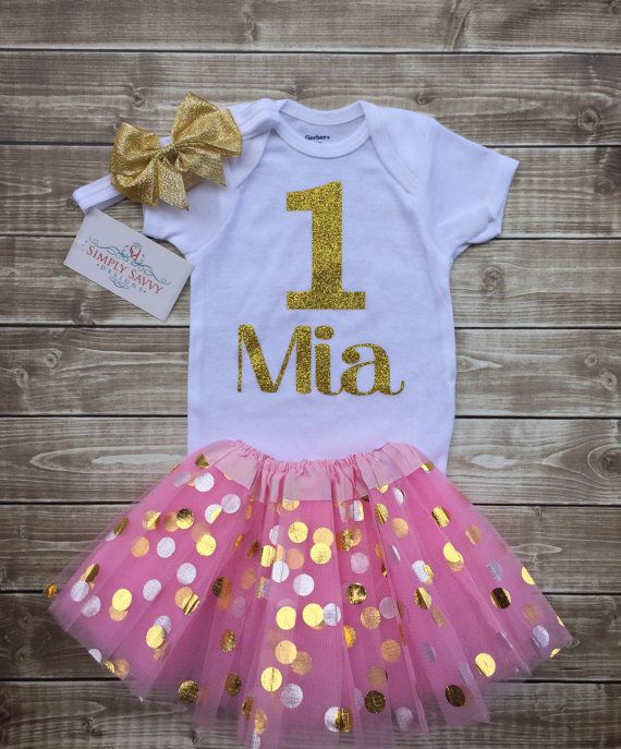 10 best first birthday ideas images on pinterest anniversary ideas items similar to first birthday onesie outfit gold and pink tutu outfit one year old birthday outfit personalized birthday outfit gold glitter onesie negle Gallery
