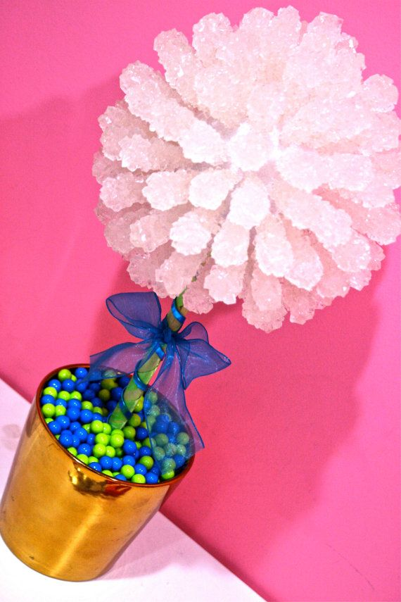 Blue green rock candy centerpiece topiary tree