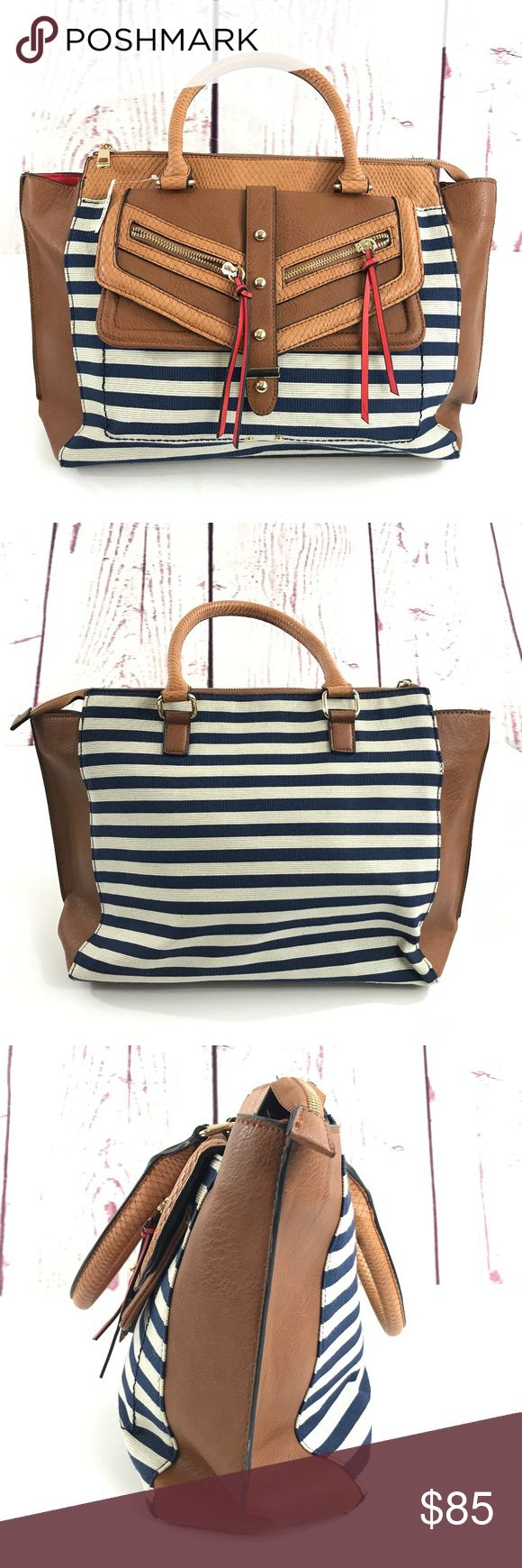"Aldo Canvas Striped Nautical Tote Bag Length: 18"" Width:5.5"" Height: 11"" Strap Drop: 7""  Please feel free to ask any questions you may have.  We value our customers and respond to all questions fast!  Always fast, same or next day shipping.  We always welcome offers:) ALDO Bags Totes"