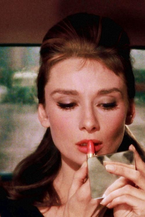 """A girl doesn't read this sort of thing without her lipstick."": Lipsticks, Coral Lips, Makeup, Audrey Hepburn, Audreyhepburn, Holly Golightly, Movie, Breakfast At Tiffany, Breakfastattiffany"
