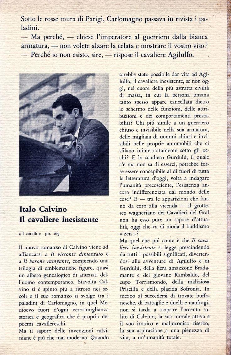 Italo Calvino, Il cavaliere inesistente, back cover, i coralli 108, Einaudi, 1959