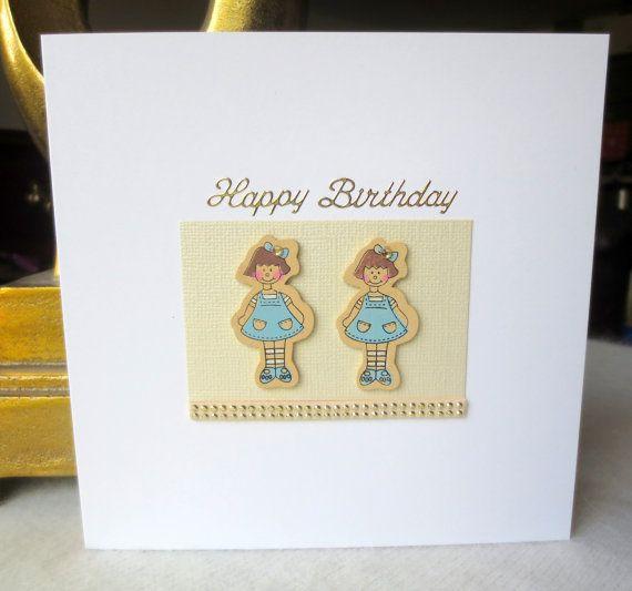 Twins  birthday Card twins boys twin girls by FyneHandmadeCards