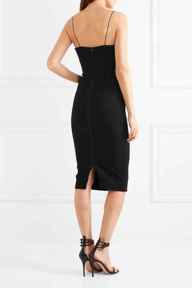 Victoria Beckham - Mesh-paneled Crepe Dress - Black - UK14