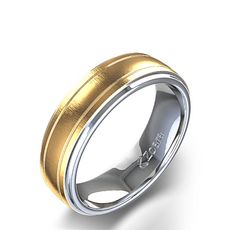 Bevelled Edge and Channel Wedding Ring in Two Tone White Gold