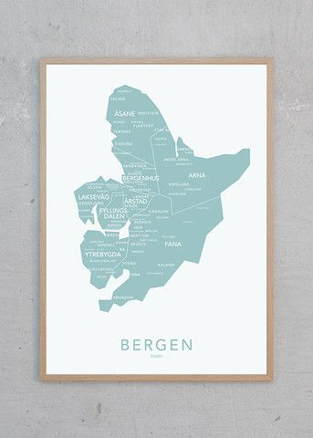 BERGEN PLAKAT | NØR A poster of the city of Bergen on the western coast of Norway in a beautiful summer mint color. With its local Scandinavian design, the poster can give your home an inspirational new look.