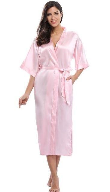 Women s Satin Long Kimono Robe Dressing Gown Sexy Bridal Bridesmaid Bath Robe  Woman Elegant Party Wedding 6d666068a