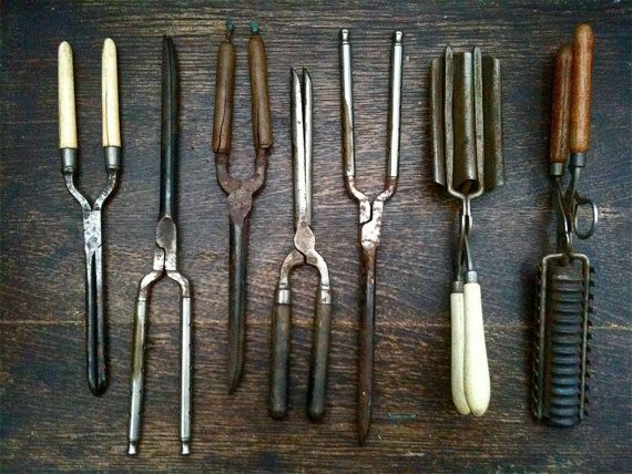 Antique Hair Curlers and Crimpers - non-electric.  Had to be heated on the stove burner