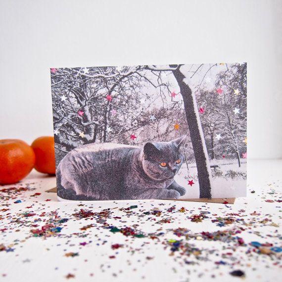 Handmade Cat in snow christmas card, grey cat christmas card, snowy scene cat christmas card, happy holidays cat card, cat greetings card