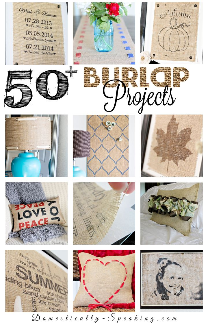 Over 50 Burlap Projects for your home!  These make great gifts!