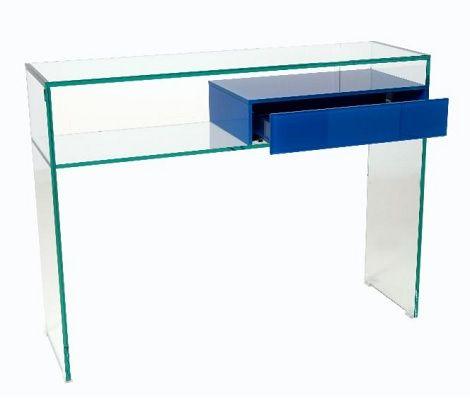 Helderr glas sidetable, bijzetmeubel, heeft een glazen pushlade  Glas design verkrijgbaar bij : Slaapkenner Theo Bot Zwaag