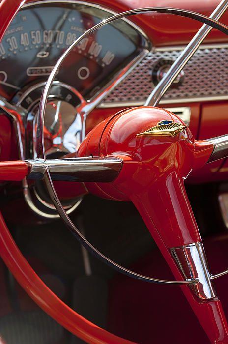 1955 Chevrolet Belair Steering Wheel Photograph by Jill Reger