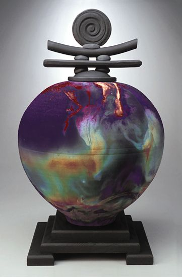 """Medallion Top"" raku vessel by Bruce Johnson"