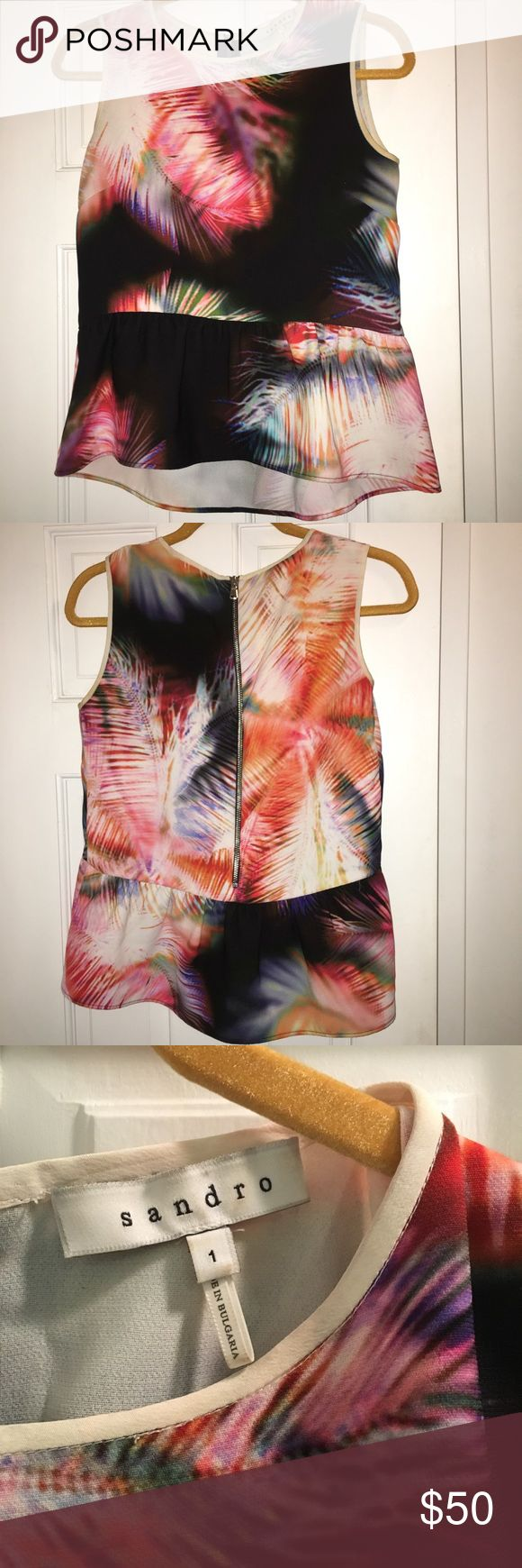 Sandro Peplum Top, Size 1/Small Sandro loose fitting peplum top in black/pink multicolor pattern. Size 1 = small Sandro Tops Blouses