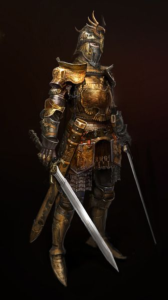 Armure dorée de chevalier médiéval.