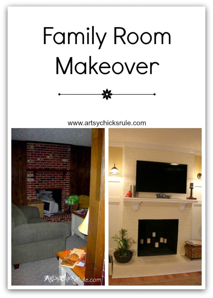 Painted brick...wood floors...New TV placement...make for a completely different (and better!!) updated look.