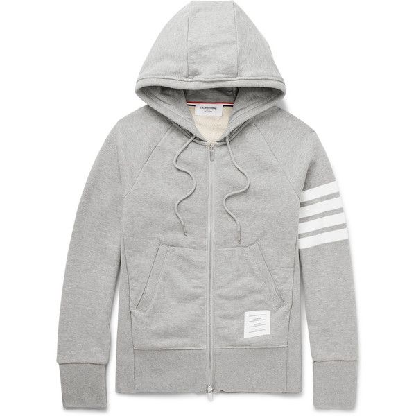 Thom Browne Striped Loopback Cotton-Jersey Zip-Up Hoodie ( 725) ❤ liked d0017bb514d