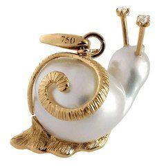 Snail White Diamond Australian Pearl Gold Pendant and Charm