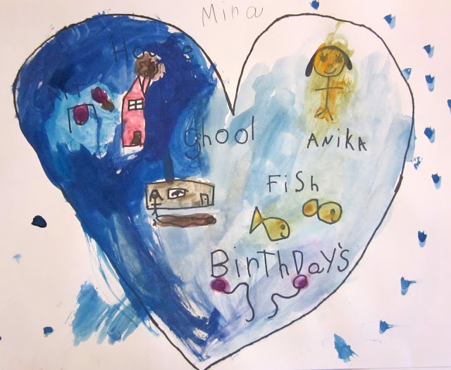 after reading My Map Book by: Sara Fanelli, make map of my heart from the blog: Art is Basic (Marcia Beckett)