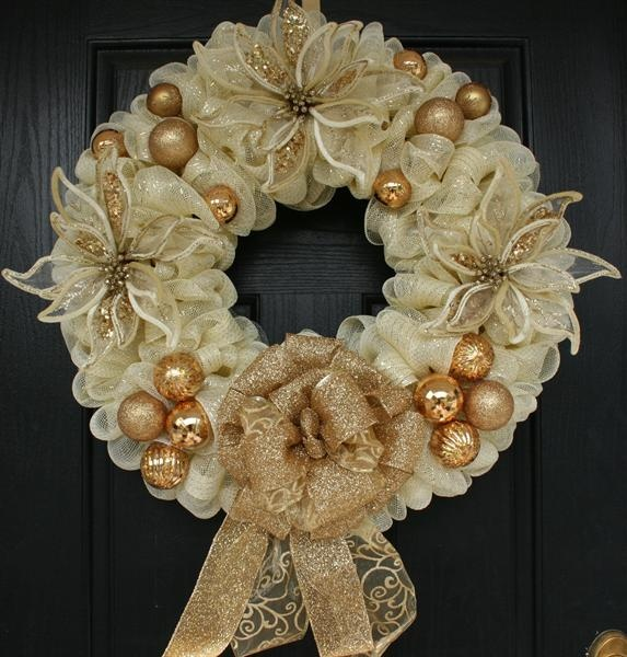 Gold and Cream Poinsettia Mesh Christmas Wreath