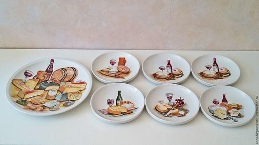 Винтажная посуда. Резерв Фарфоровый сырный сервиз. AnnaBe de Provence. Интернет-магазин Ярмарка Мастеров. Скрвировка, фарфоровая тарелочка