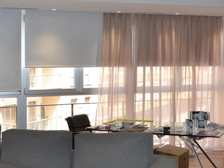 Estores enrollables opacos opac corti accionados con - Combinar cortinas y estores ...