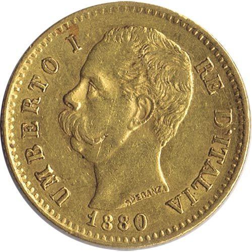 Moneda de oro 20 liras Italia 1880 Roma.