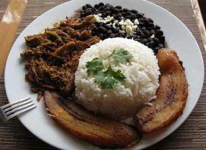 La gastronomía de Venezuela tiene influencias indígenas y europeas, la cocina mediterránea también se presenta notablemente entre sus creaciones gastronómicas. Su plato nacional es el Pabellón Criollo hecho en base a carne de ternera que se corta en dados o cubos pequeños, se suele servir con arroz blanco y judías verdes.