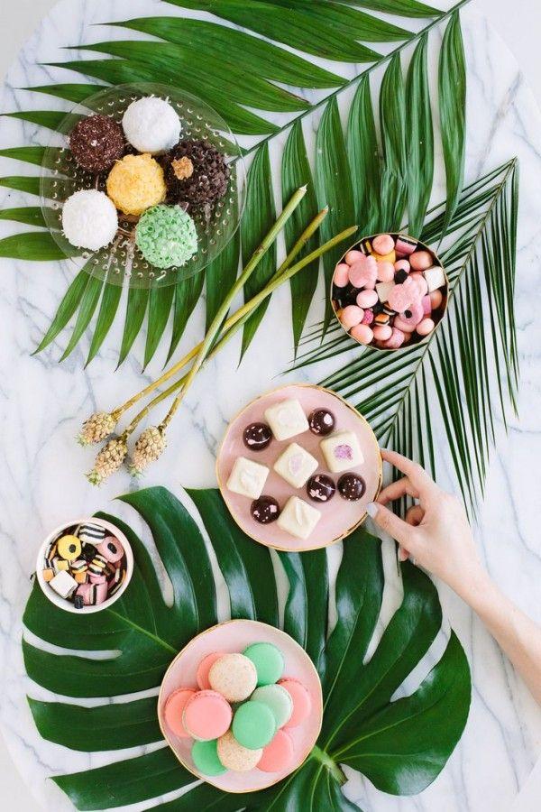 Palm fronds and bon-bons party via Studio DIY.
