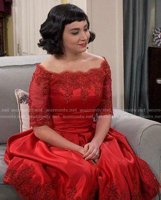 Mandy's red lace off-shoulder dress on Last Man Standing.  Outfit Details: https://wornontv.net/55945/ #LastManStanding