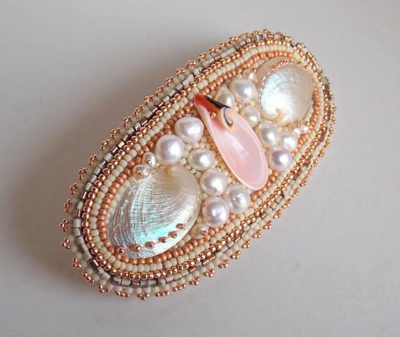 Check out Barrette , Summer jewelry, Sea shell hair clip, Bead embroidery, Freshwater pearl, Abalone shell, Seed bead jewelry, Free shipping, on vicus