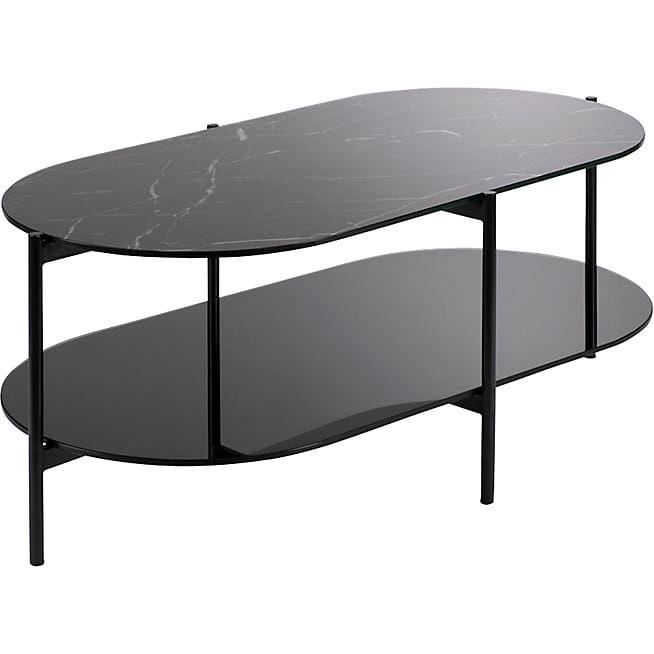 Guiero Table Basse Ovale En Verre Effet Marbre Noir