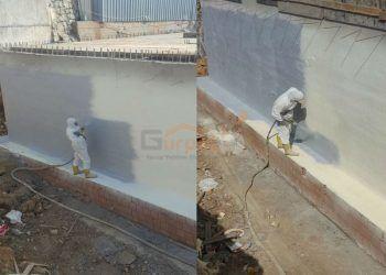Temel perde betonda su yalıtımı amaclı polyurea