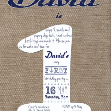 Burlap with navy details. The colour theme chosen in this sample is navy