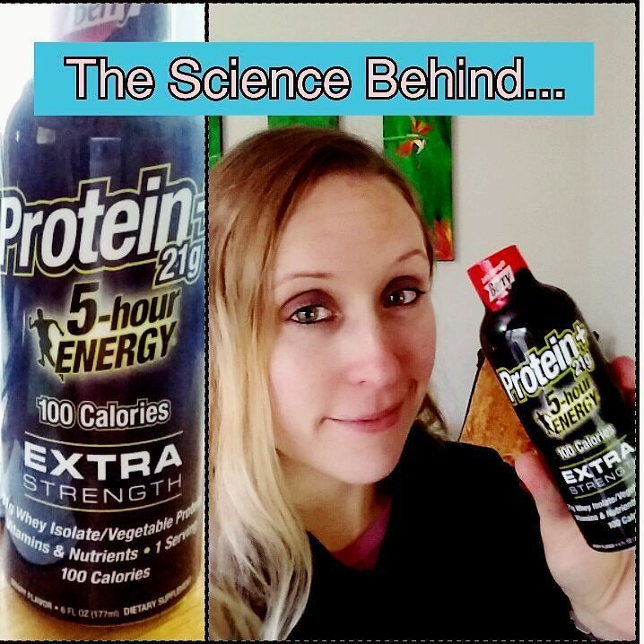 Sometimes I am BOTH fascinated and wary of new energy products. Sometimes protein drinks are clumpy and gross...this one wasn't awful. SCIENCE BEHIND 5Hr Energy Protein 21g Protein from whey AND Potato! Usually >20g protein is hard to keep in solution without some sort of thickener or gum (but there are none) Brain Boosting ingredients choline and citicholine - 250mg daily was associated with improved attentional performance Too many vitamins - 40mg/200% niacin (enough to cause Niacin Flush)…