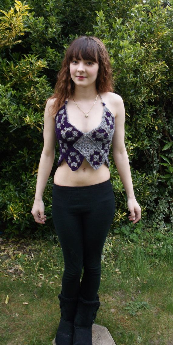 Crop festival top, beaded. Beautiful granny square crop top. Festival wear clothing. Unique one of a kind top. Grey and purple sexy crop top on Etsy, $63.73