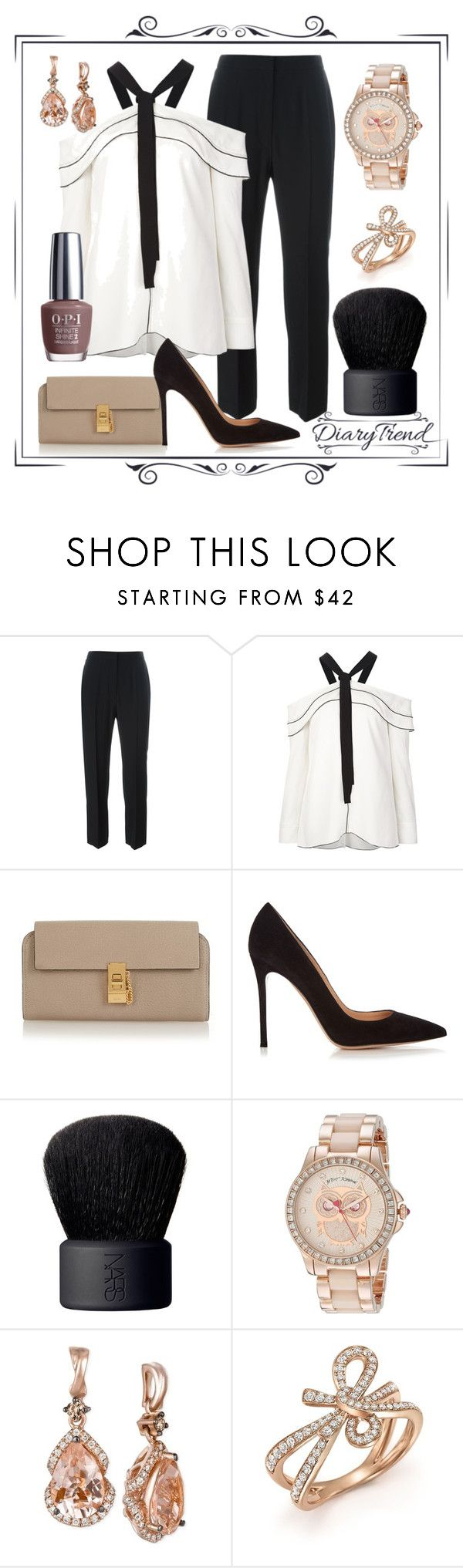 """С плеч долой"" by dairy-trend ❤ liked on Polyvore featuring Alexander McQueen, Proenza Schouler, Chloé, Gianvito Rossi, NARS Cosmetics, Betsey Johnson, LE VIAN and Bloomingdale's"