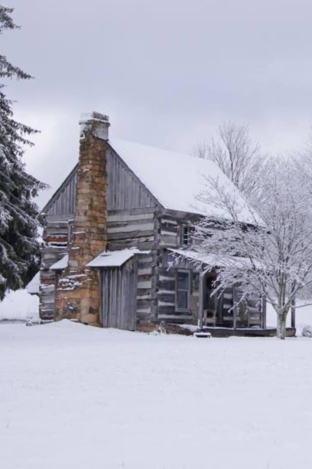 old cabin winter scene wallpaper - photo #32