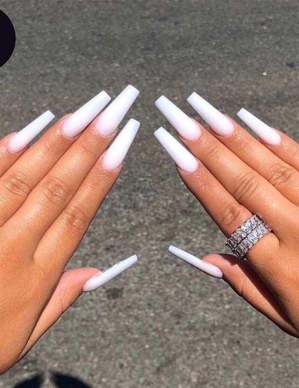 White Coffin Nails In 2020 Long Square Acrylic Nails Long Acrylic Nail Designs Long White Nails